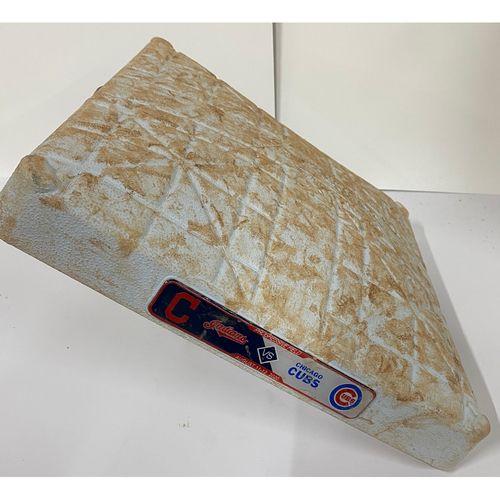 Photo of Game-Used 2020 Base - Chicago Cubs at Cleveland Indians - 8/11-8/12