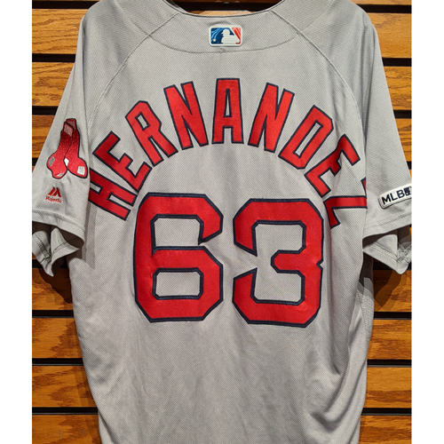 Photo of Darwinzon Hernandez #63 Game Used Road Gray Jersey