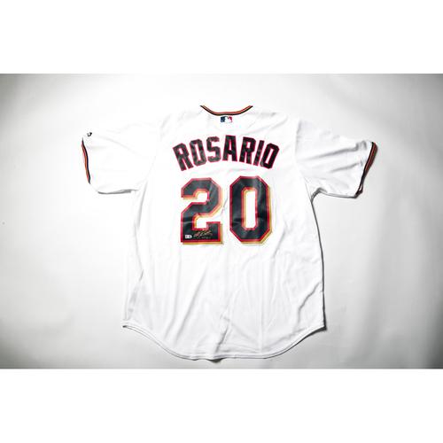 Home White Autographed Replica Jersey - Eddie Rosario Size L