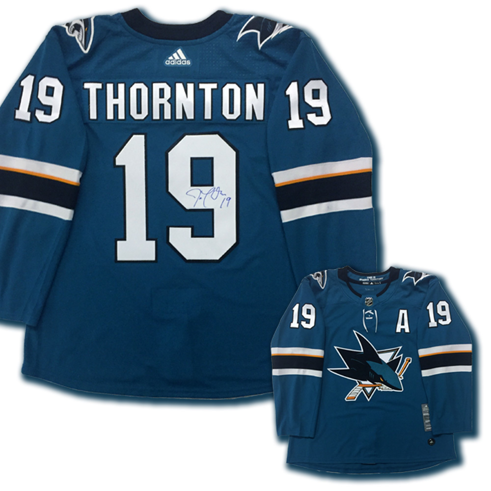 JOE THORNTON Signed San Jose Sharks Teal Adidas PRO Jersey