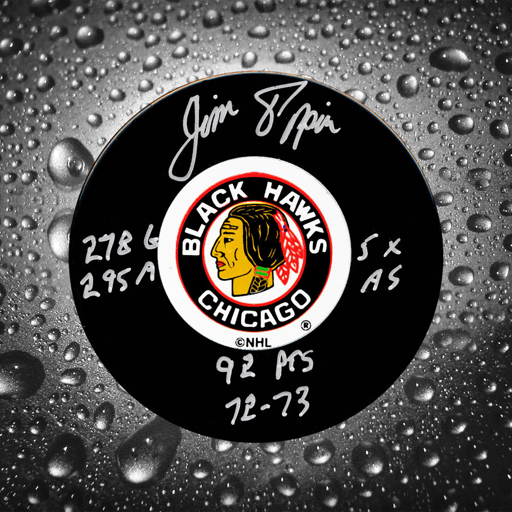 Jim Pappin Chicago Blackhawks Stats Autographed Puck