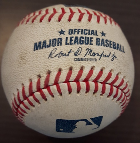 Photo of Authenticated Game Used Opening Day 2018 Baseball - Ball in Dirt pitched to Billy McKinney against Aaron Sanchez on March 30, 2018 (Top 2). 1st MLB At Bat for McKinney. 1st MLB Hit later in At Bat