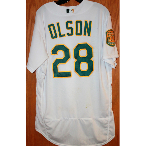 Photo of Matt Olson Game-Used Jersey (Sean Manaea's No-Hitter Game vs BOS 4/21/18)