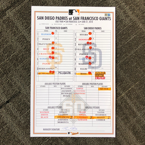 Photo of Madison Bumgarner 4x ALL-STAR - 2018 Game-Used Line-up Card - 6/21/18 vs. San Diego Padres