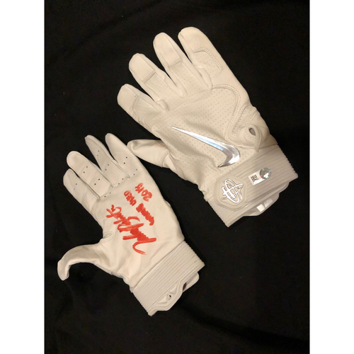 "Photo of Tucker Barnhart -- Autographed Batting Gloves -- Inscribed as ""Game Used 2018"""