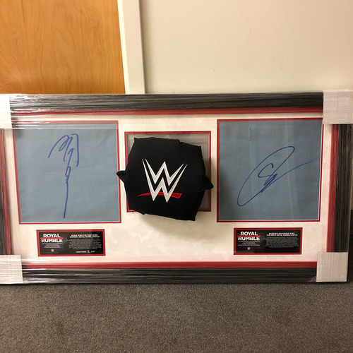 Photo of Shinsuke Nakamura & Asuka Royal Rumble 2018 Autographed Ring Canvas & Turnbuckle Plaque (#6 of 12)