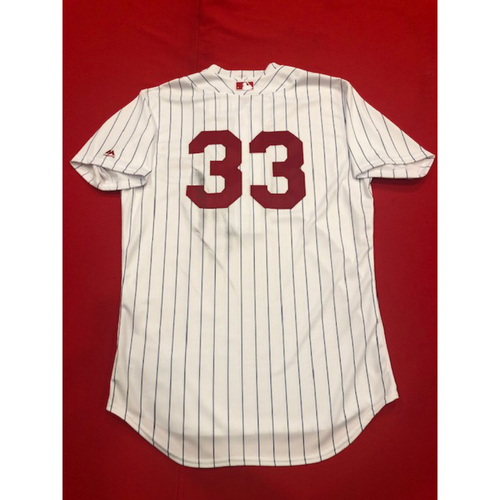 Photo of Jesse Winker -- Game-Used Jersey -- 1919 Throwback Game -- Nationals vs. Reds on June 2, 2019 -- Jersey Size 44