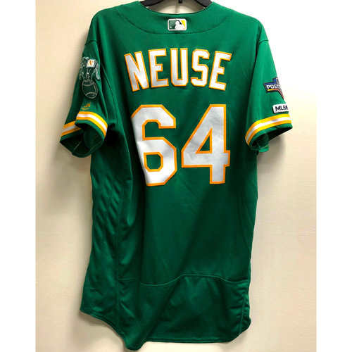 Photo of Sheldon Neuse Game-Used 2019 A.L. Wild Card Jersey w/ Postseason Patch