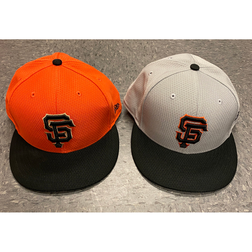 Photo of 2019 Holiday Sale - 2019 Team Issued Batting Practice Cap Set - Orange BP Cap Issued to #47 Johnny Cueto & Team Issued Gray BP Cap - Size 8