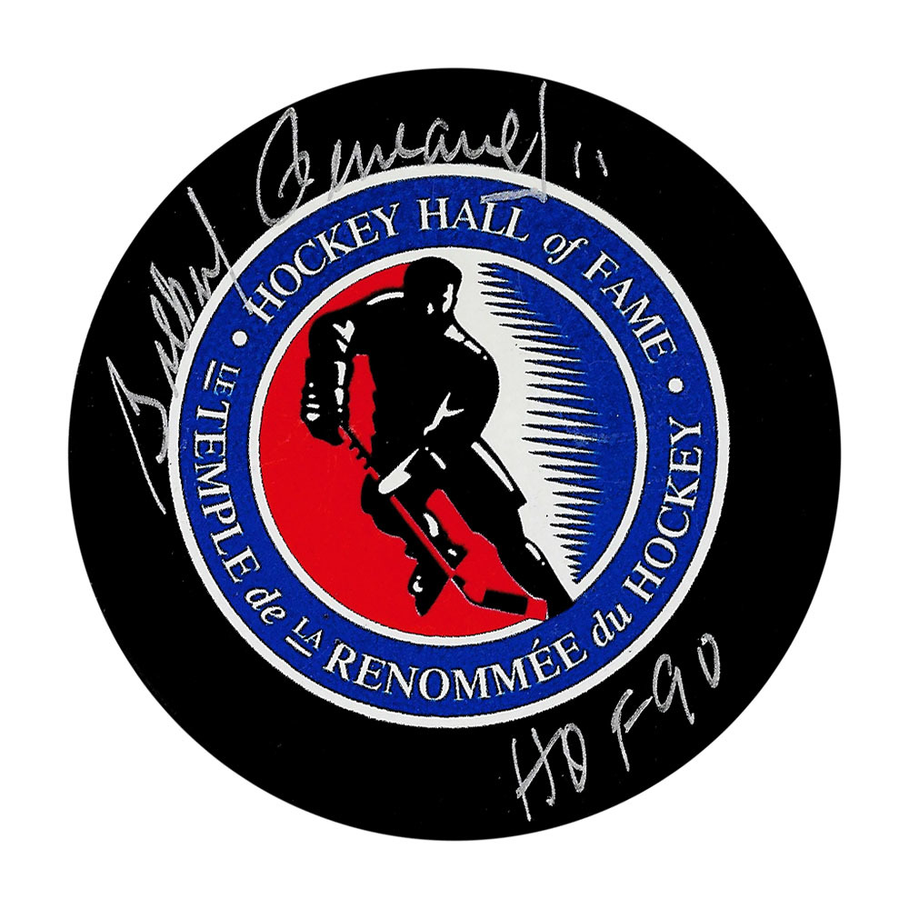 Gilbert Perreault Autographed Hockey Hall of Fame Puck w/HOF Inscription