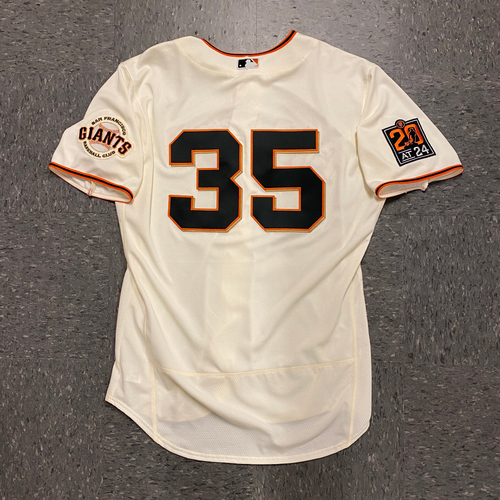 Photo of 2020 Game Used Home Opening Day Jersey worn by #35 Brandon Crawford on 7/28 vs. SD - Size 48