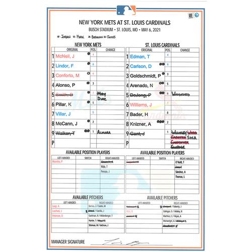 Photo of Game Used Lineup Card - Taijuan Walker 7 IP, 0 ER, 8 K's, Earns 2nd Win; Lindor 1-3, 3 BBs, 1 Run Scored; Mets Win 4-1 - Mets vs. Cardinals - 5/6/21