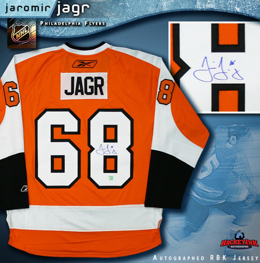 9479f17ac JAROMIR JAGR Signed Orange Reebok Philadelphia Flyers Jersey - NHL ...