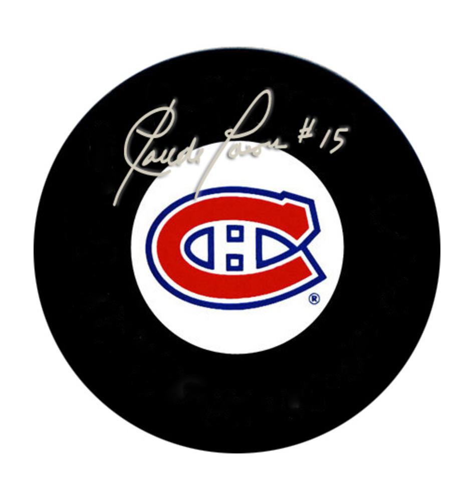 Claude Larose Signed Puck Canadiens