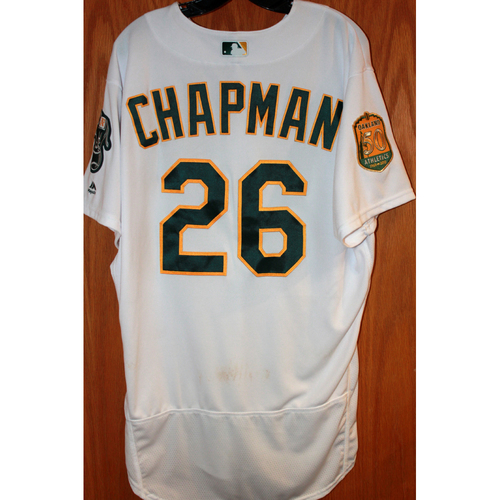 Photo of Matt Chapman Game-Used Jersey (Sean Manaea's No-Hitter Game vs BOS 4/21/18)