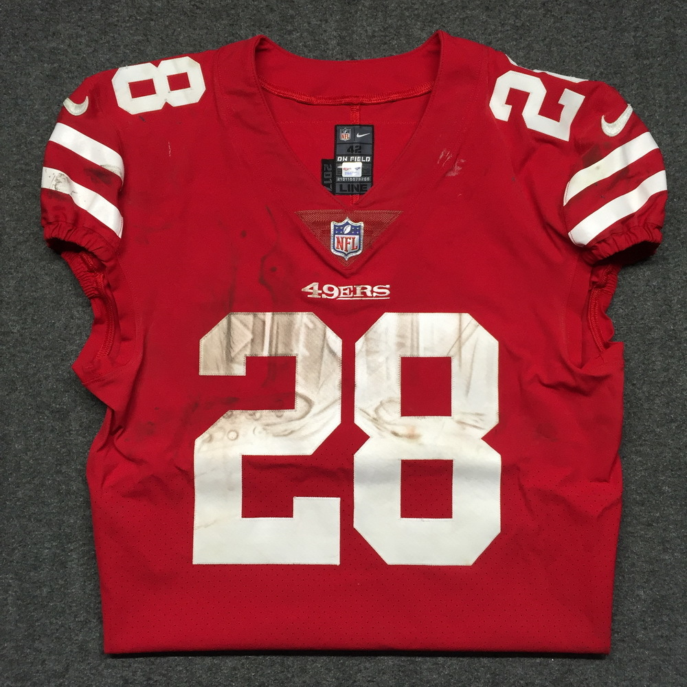 best website 5e1ac 98438 NFL Auction   STS - 49ers Carlos Hyde game worn 49ers jersey ...