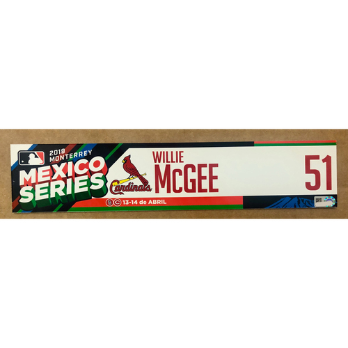 Photo of 2019 Mexico Series - Game Used Locker Tag -Willie McGee -  St. Louis Cardinals