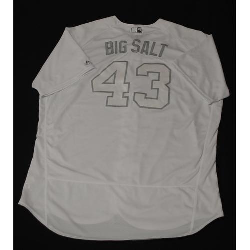 "Photo of Matt ""BIG SALT"" Albers Milwaukee Brewers Game-Used 2019 Players' Weekend Jersey"