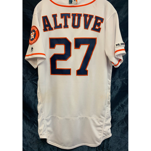 Photo of 2019 Game-Used Jose Altuve Home White Jersey (Size 40)