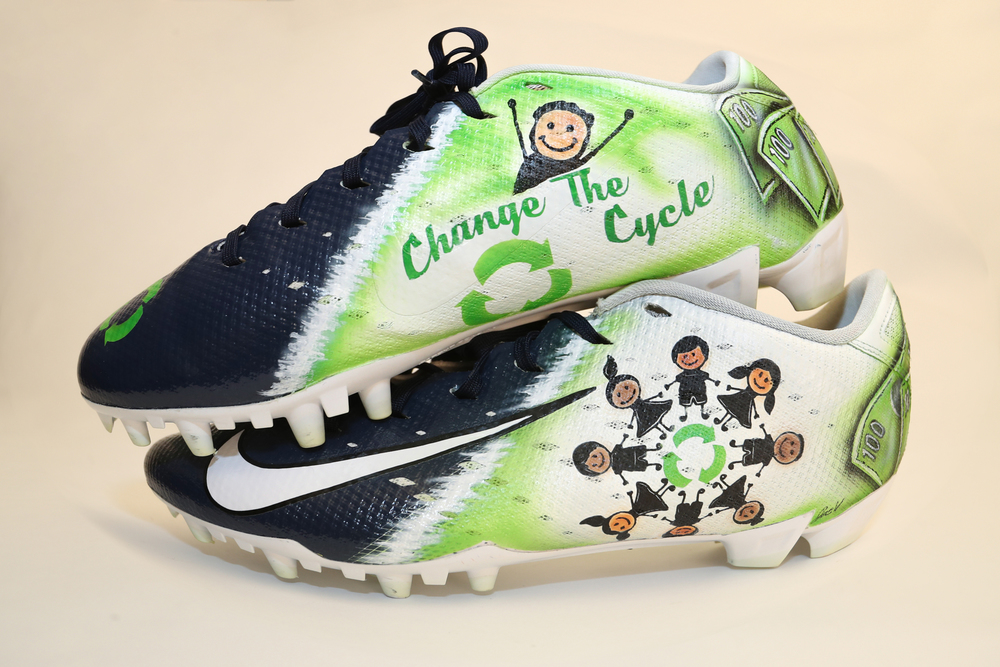 My Cause My Cleats -  Joe Juan Williams signed custom cleats - supporting  Empower Yourself LTD