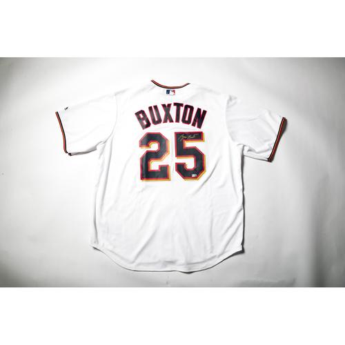 Home White Autographed Replica Jersey - Byron Buxton Size L