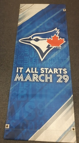 Photo of Authenticated Team Issued 2018 Season Opener Banner - 6 feet by 27 inches