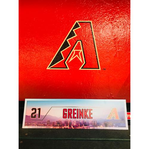 Photo of 2017 Postseason Clinch Zack Grienke Game-Used Nameplate