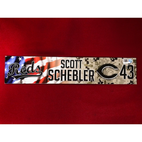 Photo of Scott Schebler - Game-Used - Military Appreciation Locker Tag (2018)
