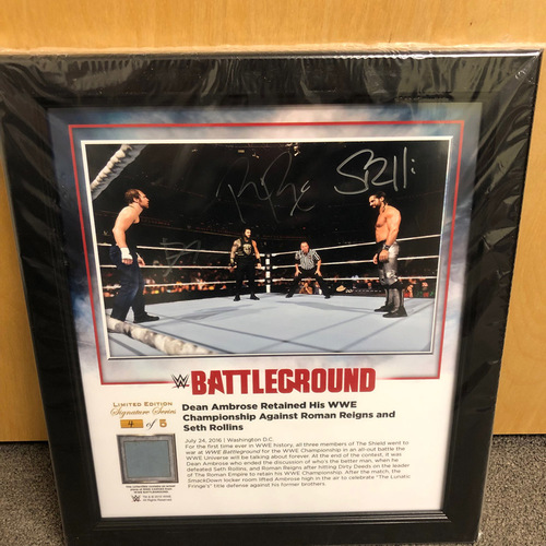 Photo of Roman Reigns, Seth Rollins, & Dean Ambrose SIGNED Battleground 2016 Used Ring Canvas Photo Plaque (#4 of 5)
