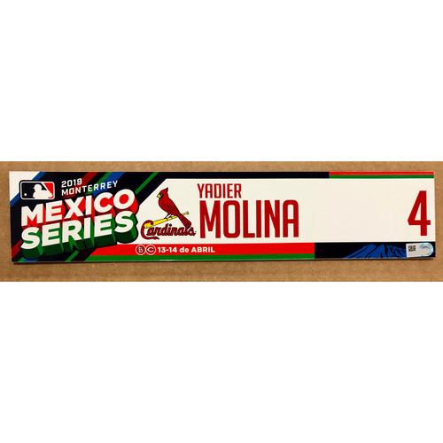 Photo of 2019 Mexico Series - Game Used Locker Tag -Yadier Molina -  St. Louis Cardinals