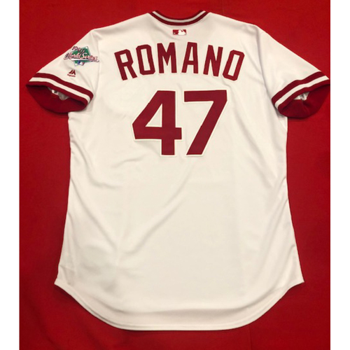 Photo of Sal Romano -- Team Issued 1990 Throwback Jersey -- Cardinals vs. Reds on Aug. 18, 2019 -- Jersey Size 48
