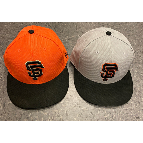Photo of 2019 Holiday Sale - 2019 Team Issued Batting Practice Cap Set - Orange BP Cap Issued to #23 Ron Wotus & Team Issued Gray BP Cap - Size 7 1/4