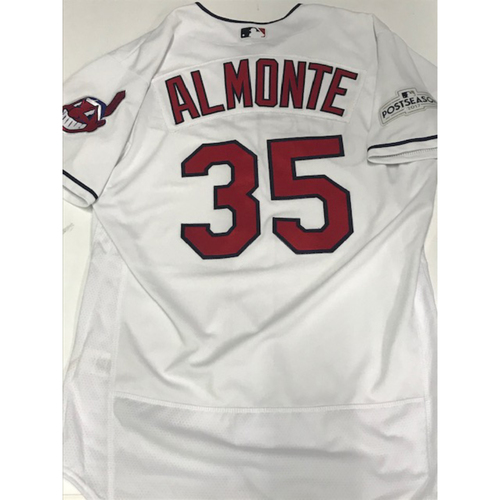 Photo of Abraham Almonte Team Issued 2017 Home Jersey w/ Postseason Patch