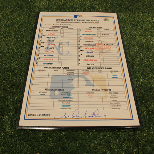 Photo of Game-Used Line-Up Card: CIN @ KC - August 19, 2020