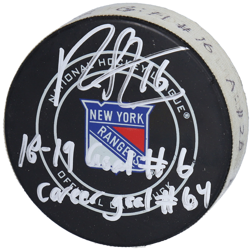 Ryan Strome New York Rangers Autographed Game-Used Goal Puck from January 10, 2019 vs. New York Islanders with Multiple Inscriptions