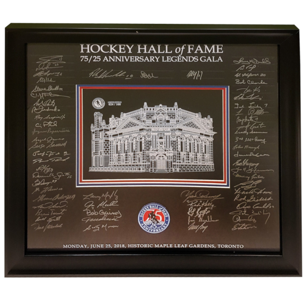 Signed by 61 Honoured Members - Hockey Hall of Fame 27 x 25 Etched Glass - Limited Edition 014/100