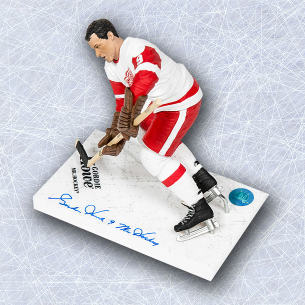 Gordie Howe Detroit Red Wings Signed White McFarlane SP with Mr Hockey Note
