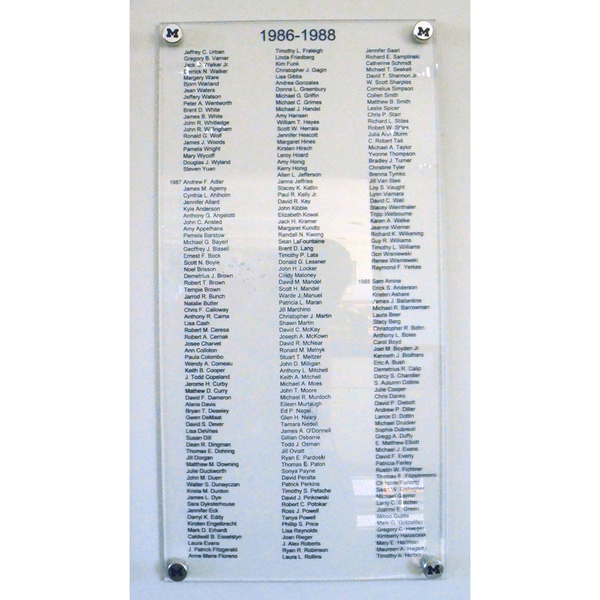 """Photo of Authentic Letterwinners M Club 12"""" x 24"""" Plaque, Varsity Athletes Years 1986-1988"""