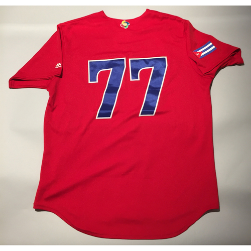 2017 WBC: Cuba Game-Used Batting Practice Jersey, #77