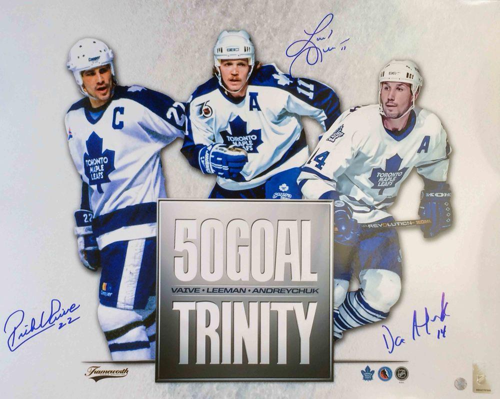 Rick Vaive/ Gary Leeman / Dave Andreychuk Multi-Signed 16x20 Unframed 50-Goal Trinity