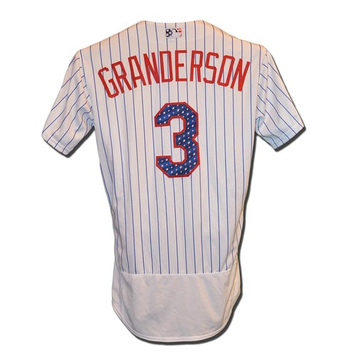 Photo of Curtis Granderson #3 - Game Used White Pinstripe 4th of July Jersey - Mets vs. Phillies - 7/2/17