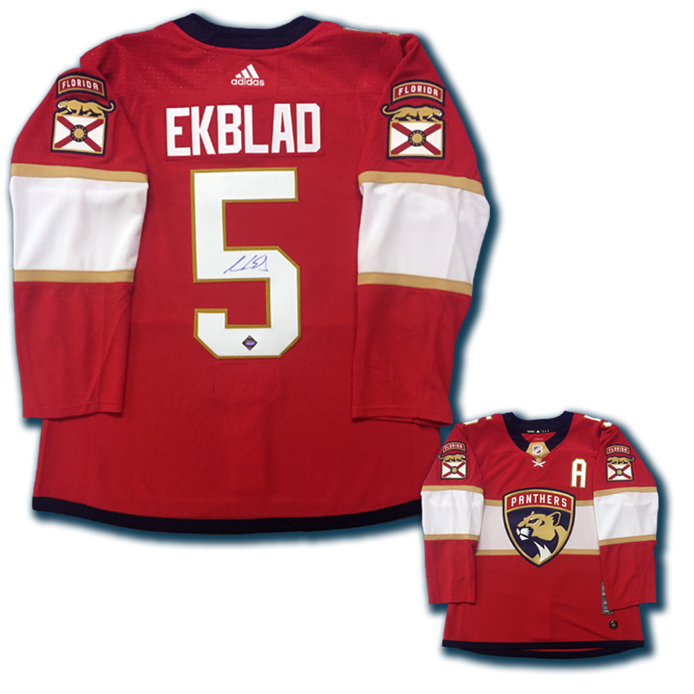 AARON EKBLAD Signed Florida Panthers Red Adidas PRO Jersey