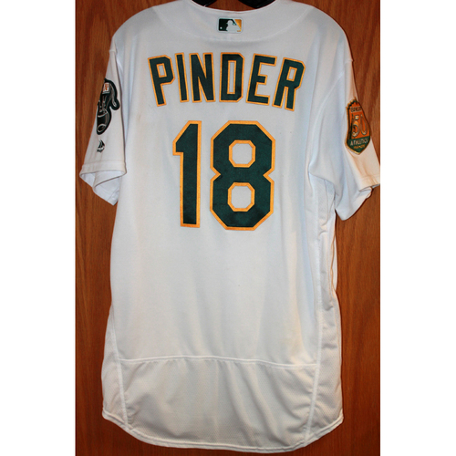 Photo of Chad Pinder Game-Used Jersey (Sean Manaea's No-Hitter Game vs BOS 4/21/18)