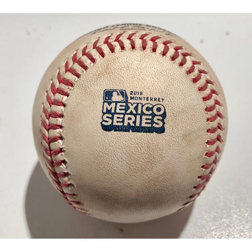 2019 Mexico Series - Game Used Baseball - Batter: Yadier Molina Pitcher : David Hernandez - Single