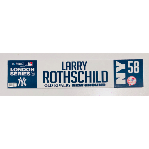 Photo of 2019 London Series - Game Used Locker Tag - Larry Rothschild, New York Yankees vs Boston Red Sox - 6/30/2019