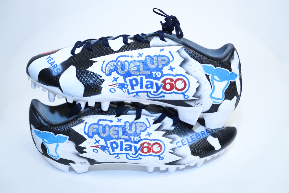 My Cause My Cleats -  Nate Ebner signed custom cleats - supporting  FUEL UP TO PLAY 60