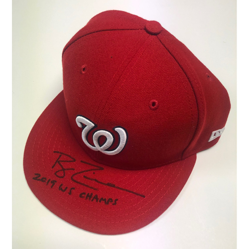 "Photo of Ryan Zimmerman Autographed ""2019 WS Champs"" Nationals Red Hat"