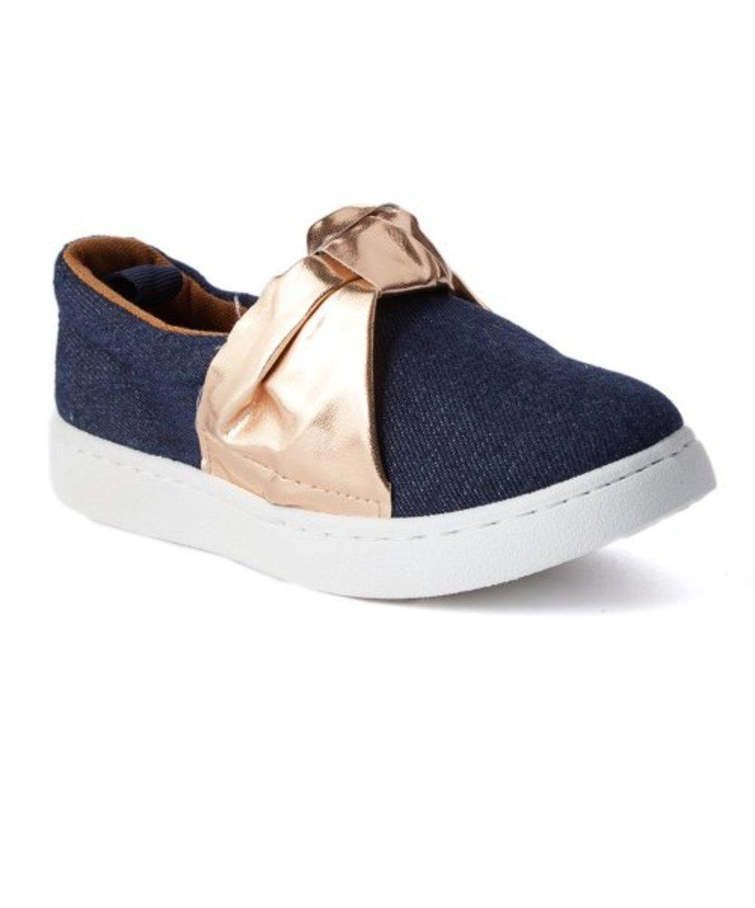 Photo of Epic Step Dark Goldtone Tie-Accent Slip-On Sneaker