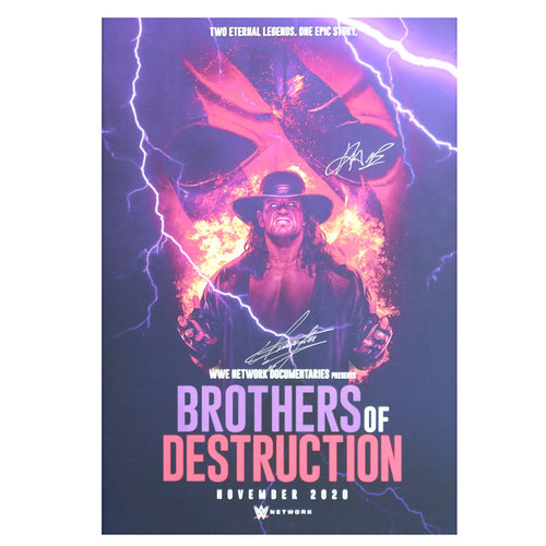 Photo of Undertaker and Kane SIGNED Brothers of Destruction Documentary Poster UNFRAMED