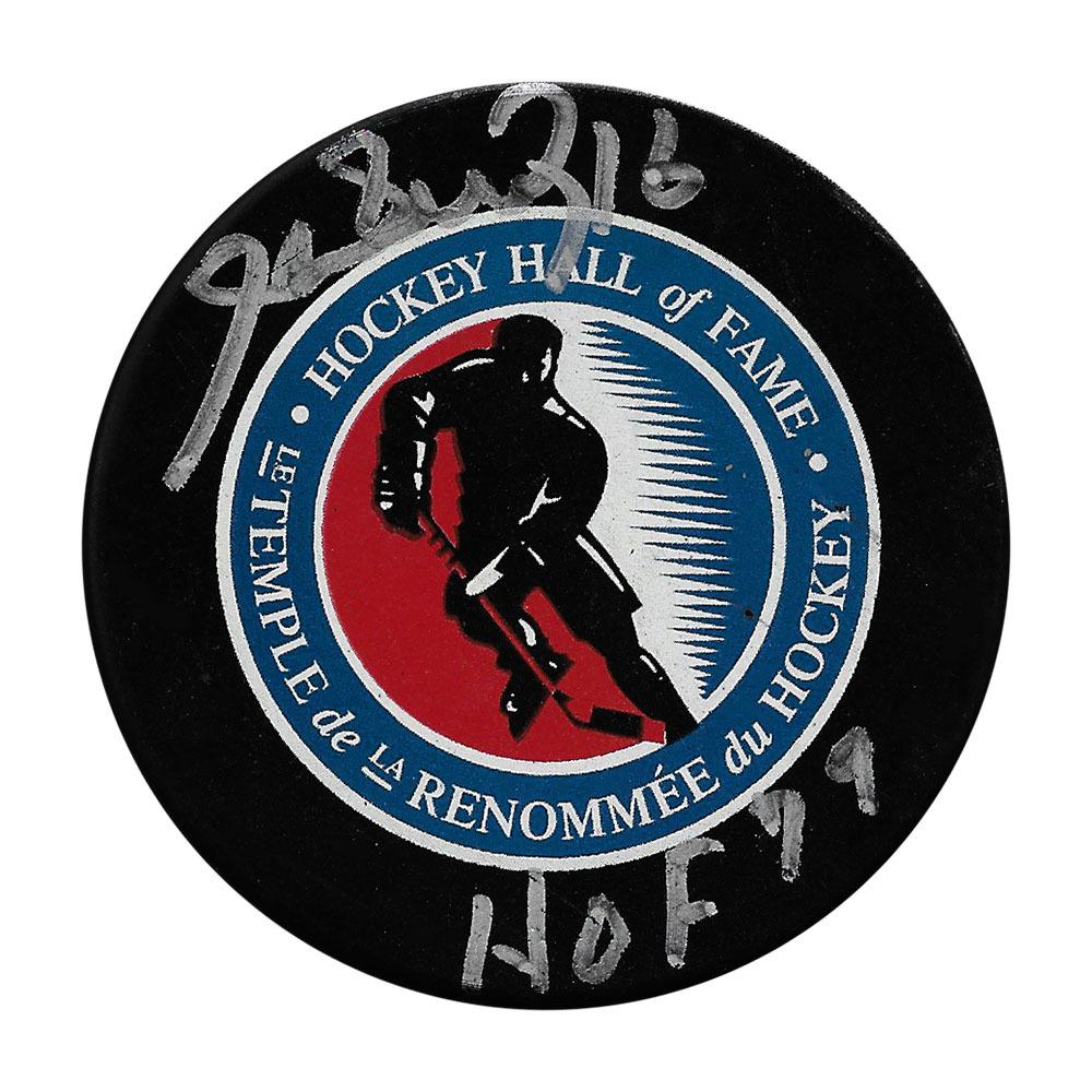 Henri Richard Autographed Hockey Hall of Fame Puck w/HOF Inscription